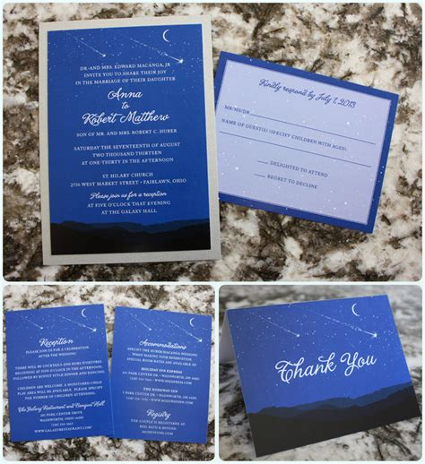 blue mountain wedding invitations royal blue moon mountains astronomy wedding
