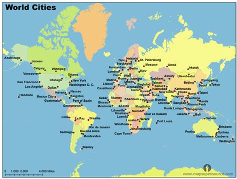world map with cities world map and cities