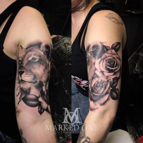 girly lion tattoos and lioness girly start of sleeve