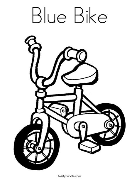 Blue Bike Coloring Page Twisty Noodle Bike Colouring Pages