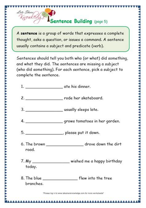 sentence pattern worksheet for grade 2 free worksheets 187 basic sentence pattern worksheets with