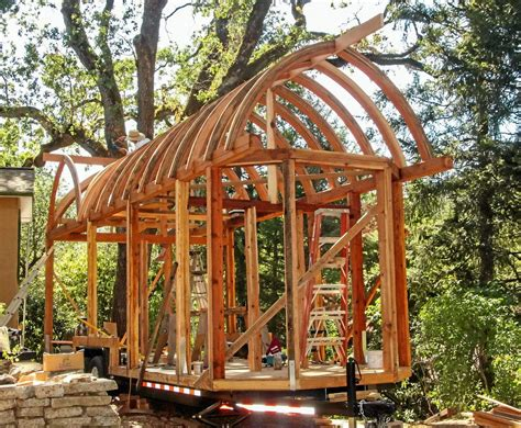 arched roof tiny house curved roof tiny house construction