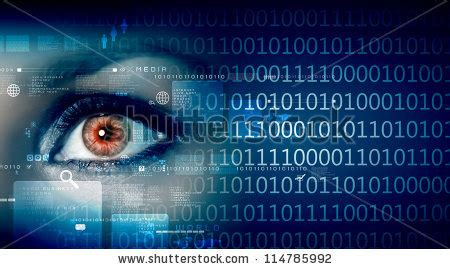 digital information eye viewing digital information represented by ones and