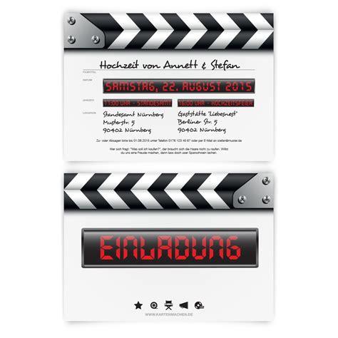 Hochzeitseinladungen Shop by Einladungskarten Zur Hochzeit Als Filmklappe Kino Theater