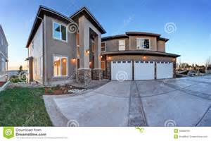 luxury big house with high column porch stock photo