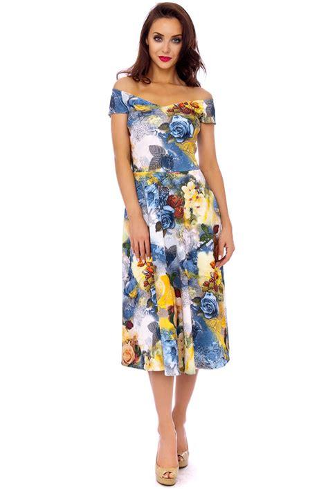 brigitte bardot vintage midi dress floral prom dress free uk delivery