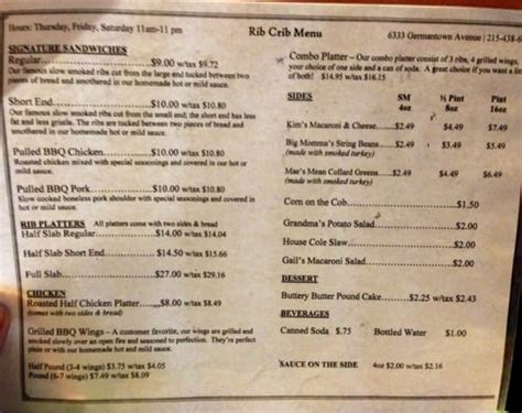 Rib Crib To Go Menu by Rib Crib Barbeque Germantown Philadelphia Pa Reviews Photos Yelp