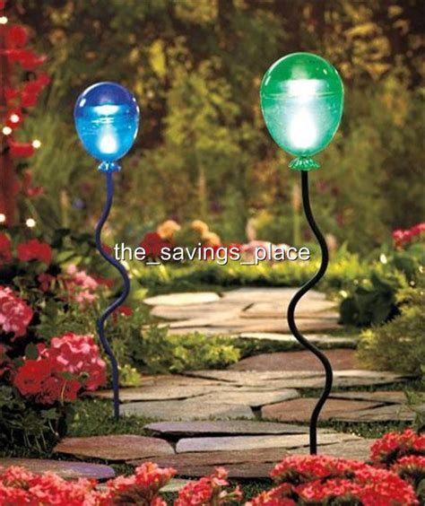 Garden Stakes Decor 2 Solar Lighted Garden Walkway Balloon Stake Lights Lighting Yard Decor