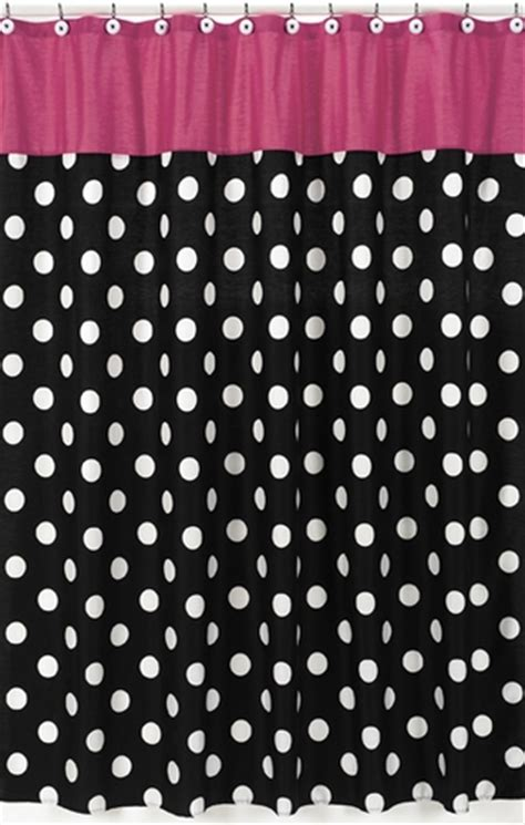 pink black and white curtains hot dot modern kids bathroom fabric bath shower curtain by