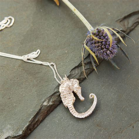 Sterling Silver Seahorse Necklace silver seahorse pendant necklace by bethany robinson