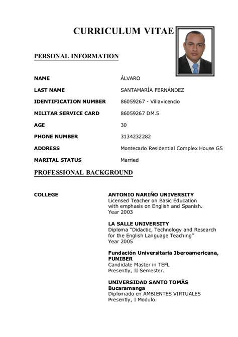 Modelo Curriculum Dominicano Alvaro Curriculum Vitae