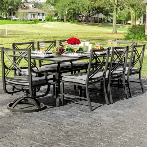 8 Person Patio Table Audubon 8 Person Aluminum Patio Dining Set With 6 Side Chairs 2 Swivel Rockers And Rectangular