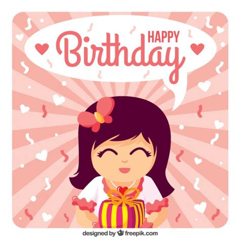 imagenes happy birthday girl girl with a gift happy birthday card vector premium download