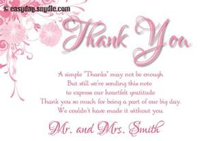 wedding thank you card wording sles easyday