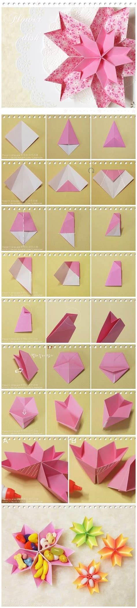 Diy Origami Flowers - diy origami paper flower dish