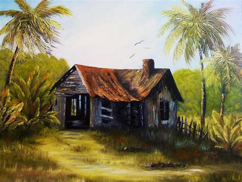 Old Florida Homes | old florida home painting by diana white