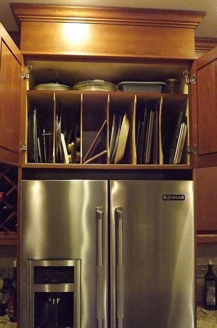 pan storage  fridge  cabinets kitchen decor