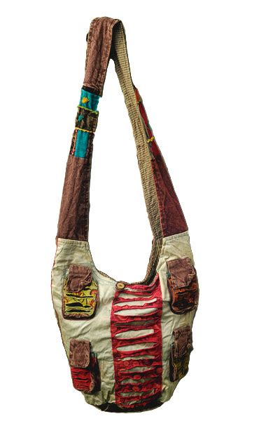 Patchwork Hobo Bag - hobo patchwork bag coloured with four exterior pockets
