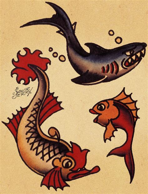 sailor jerry shark tattoo google search pinteres