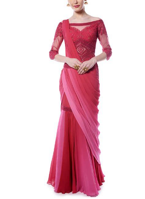 drape saree mandira wirk deep red and pink drape saree shop sarees