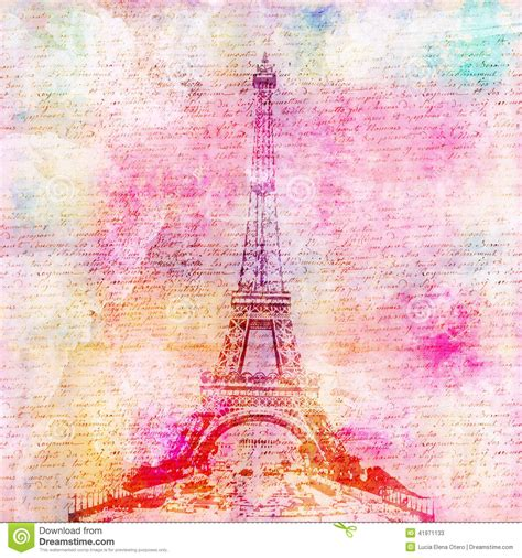 Alas Foto Motif Shabby Chic S002 fondo vintage de la torre eiffel foto de archivo