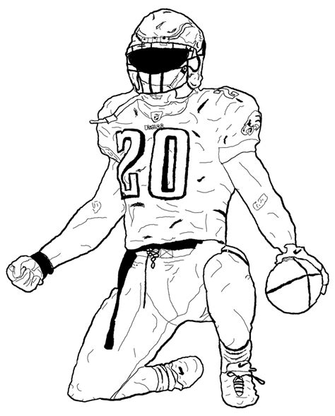 coloring pages of nfl players football player drawn atbonner
