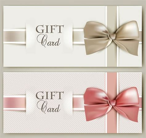 free gift card design template free vector gift card with bow design template 04