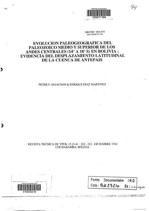 (PDF) Evolucion paleogeografica del Paleozoico medio y