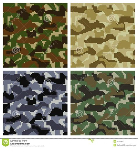 different types of military camouflage patterns daily pixel camouflage patterns stock vector illustration of