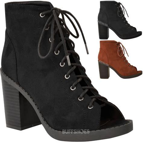 new womens lace up block heel ankle boots platform