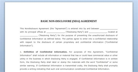 nda agreement template free non disclosure agreement