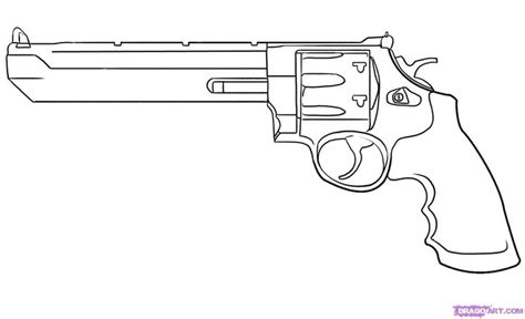 how to draw doodle guns cool drawing of a revolver pistol brushed bones