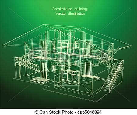 House Construction Blueprints eps vector of architecture blueprint of a green house