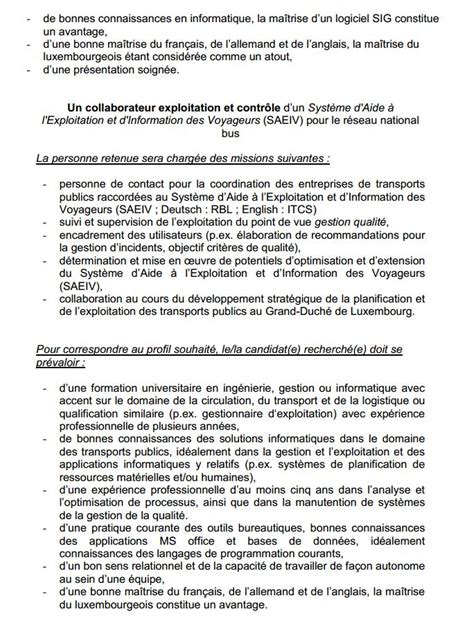 Lettre De Motivation De Propretã Urbaine Responsable Service Planification De La Mobilit 233 Communaut 233 Des Transports Du Luxembourg