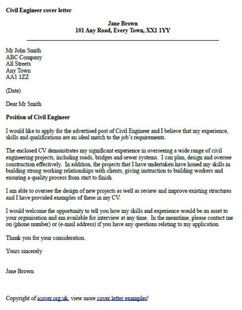 cover letter for engineering position civil engineer cover letter exle cover letter