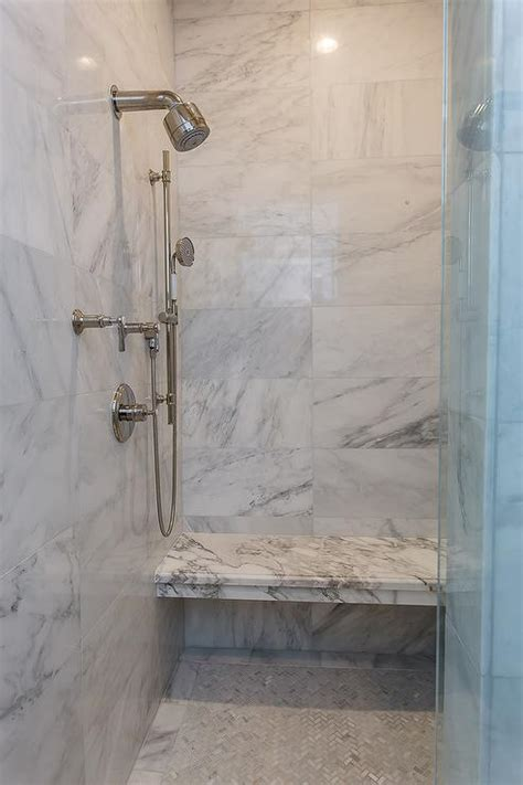 Shower Floor Kits For Tile by Shower With White Herringbone Tiles And Gray Grout