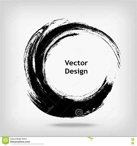 hand drawn circle shape label logo design element brush