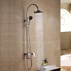 simple bent top outdoor shower faucet system