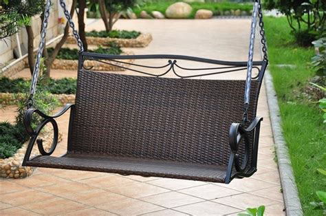 hanging patio swing in chocolate finish contemporary porch