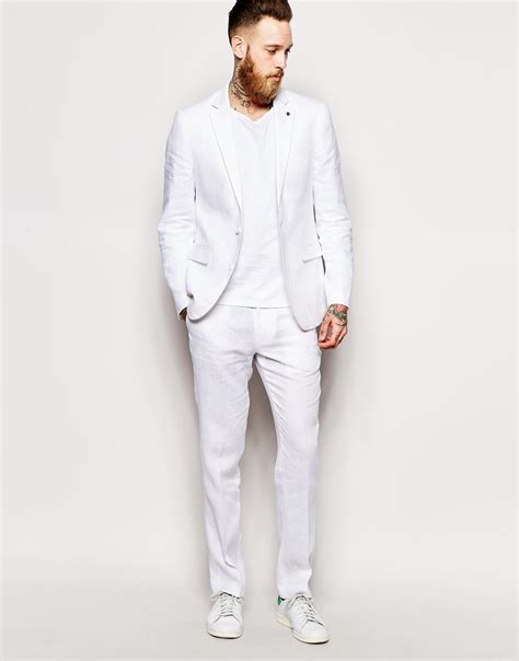 asos slim fit suit in 100 linen in white for lyst