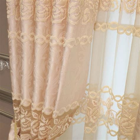 floral lace curtains elegant faux silk beige yellow rose floral lace curtains
