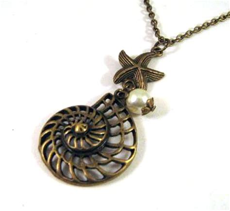 Kalung Choker Bronze Starfish 61798 antiqued bronze shell and starfish necklace jewelry on luulla