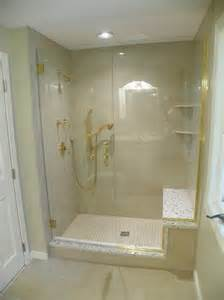 one shower stall with bench interior exterior