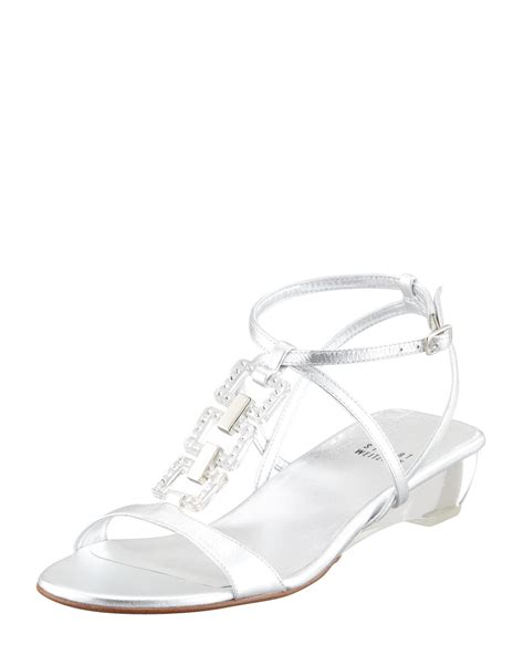 silver low wedge sandals stuart weitzman womens silver metallic low wedge sandal