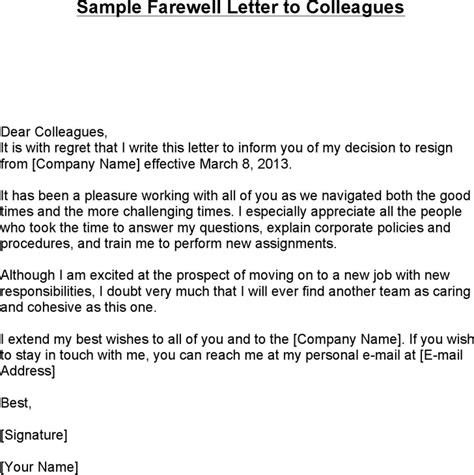 thank you letter to on farewell sle farewell letter to colleagues for free