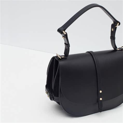 Zara Bag Black zara leather messenger bag in black lyst