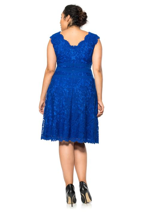 V Neck Embroidered A Line Dress embroidered lace v neck a line dress plus size tadashi