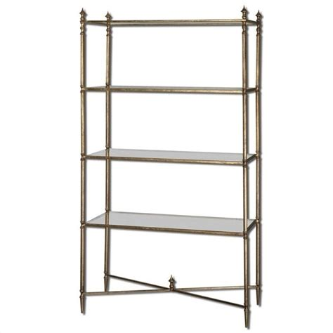 Uttermost Mirrored Furniture Uttermost Henzler Mirrored Glass Etagere In Antiqued Gold