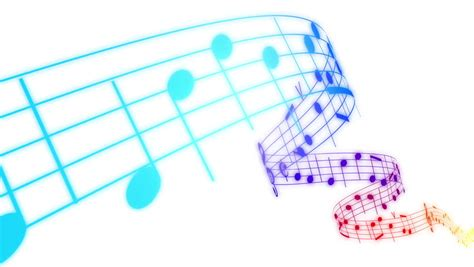 animation layout notes music notes flowing in rainbow colors on white background
