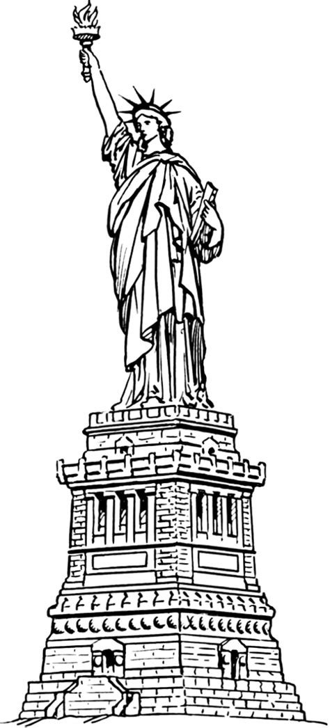 Statue Of Liberty Large Buildings Famous Us Famous Coloring Page New York